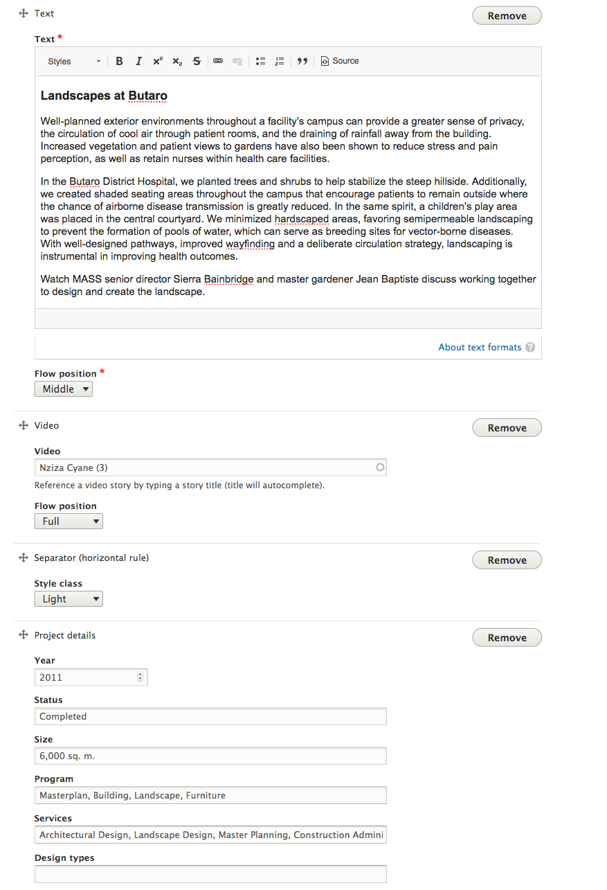 Screenshot of content entry form using Paragraphs.